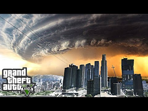 MEGA HURRICANE & TORNADO DESTROY LOS SANTOS - GTA 5 END OF L