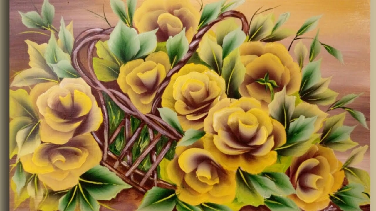 SIMPLE - YELLOW Roses Acrylic Painting Demonstration - Satisfying - Colorful Demo - YouTube