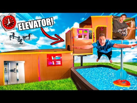 24-hour-billionaire-box-fort-elevator-challenge-4-story!-mini-golf,-toys,-gaming-room-&-more!