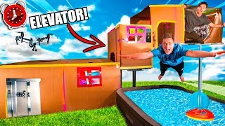24 HOUR BILLIONAIRE BOX FORT ELEVATOR CHALLENGE 4 STORY! Mini Golf, Toys, Gaming Room & More!