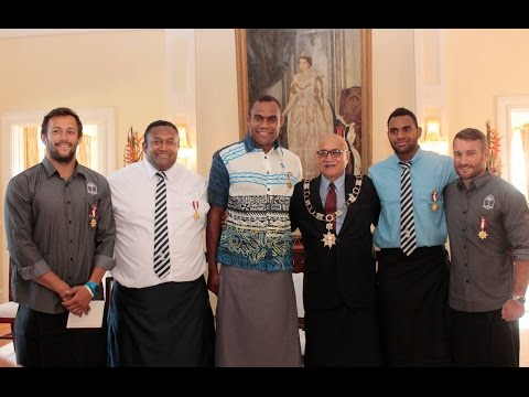 Fijian President officiates Investiture Ceremony for the rests of Fiji Sevens Team.