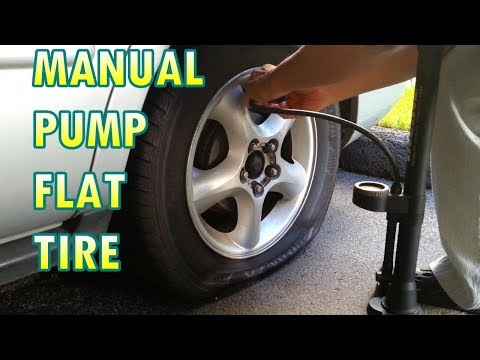 using a Bicycle Pump to inflate Flat Car Tire