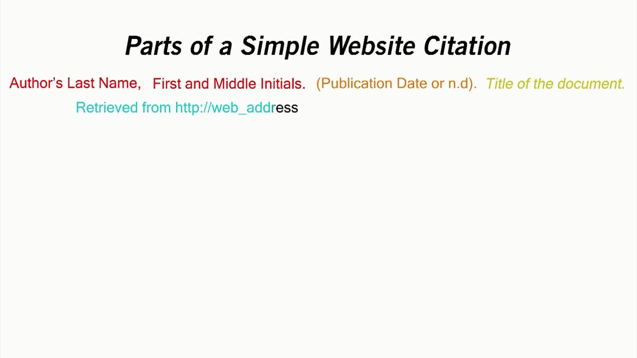 How To Cite A Website In Apa Style Youtube
