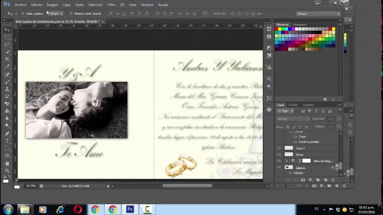 como hacer invitaciones de boda con photoshop