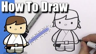 How To Draw Cute Cartoon Luke Skywalker - EASY Chibi - Step By Step   Kawaii