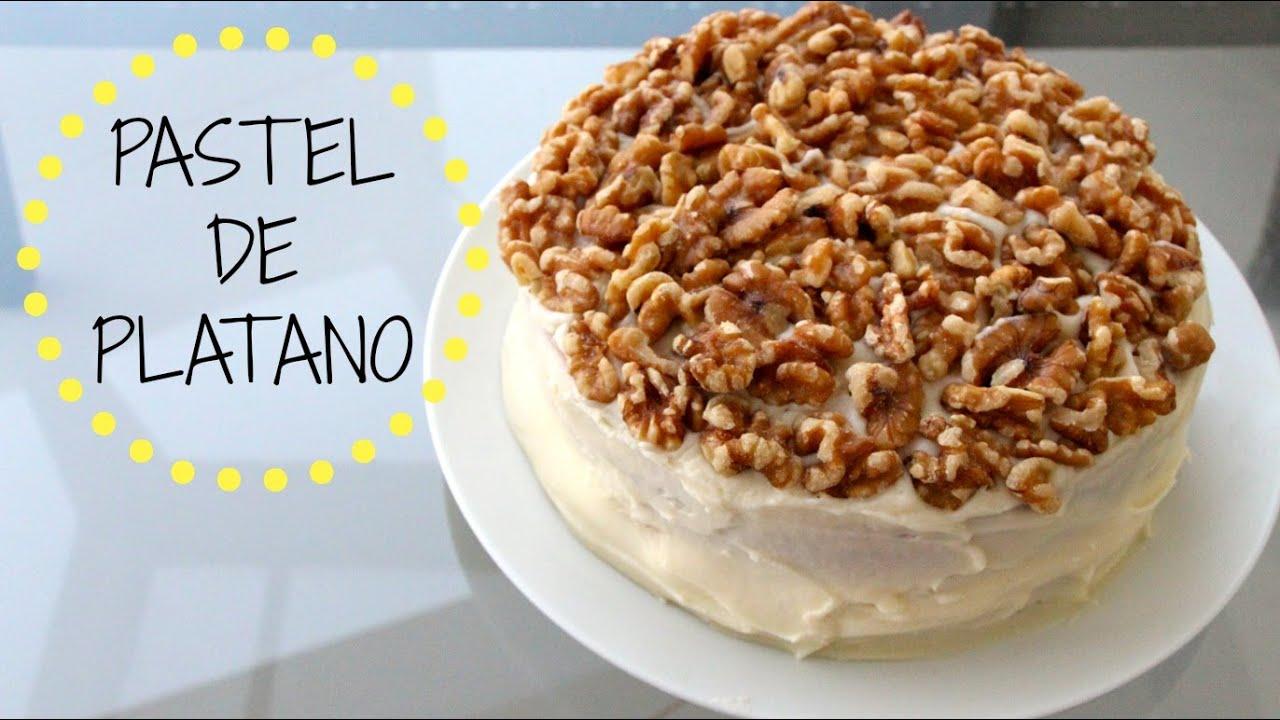 Pastel Torta De Platano Con Nuez