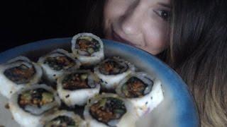 [BINAURAL ASMR] Eating Fake Sushi (veggie rolls, whispering, mouth sounds, close up)