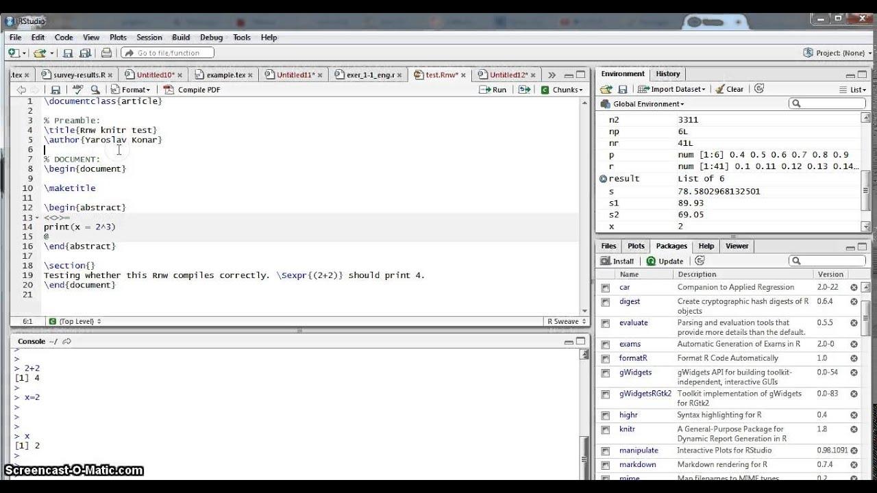 LaTeX Tutorial 10a: LaTeX + R, knitr
