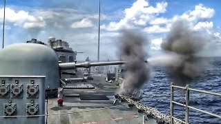 U.S. Navy Deck Guns Shoot Downrange