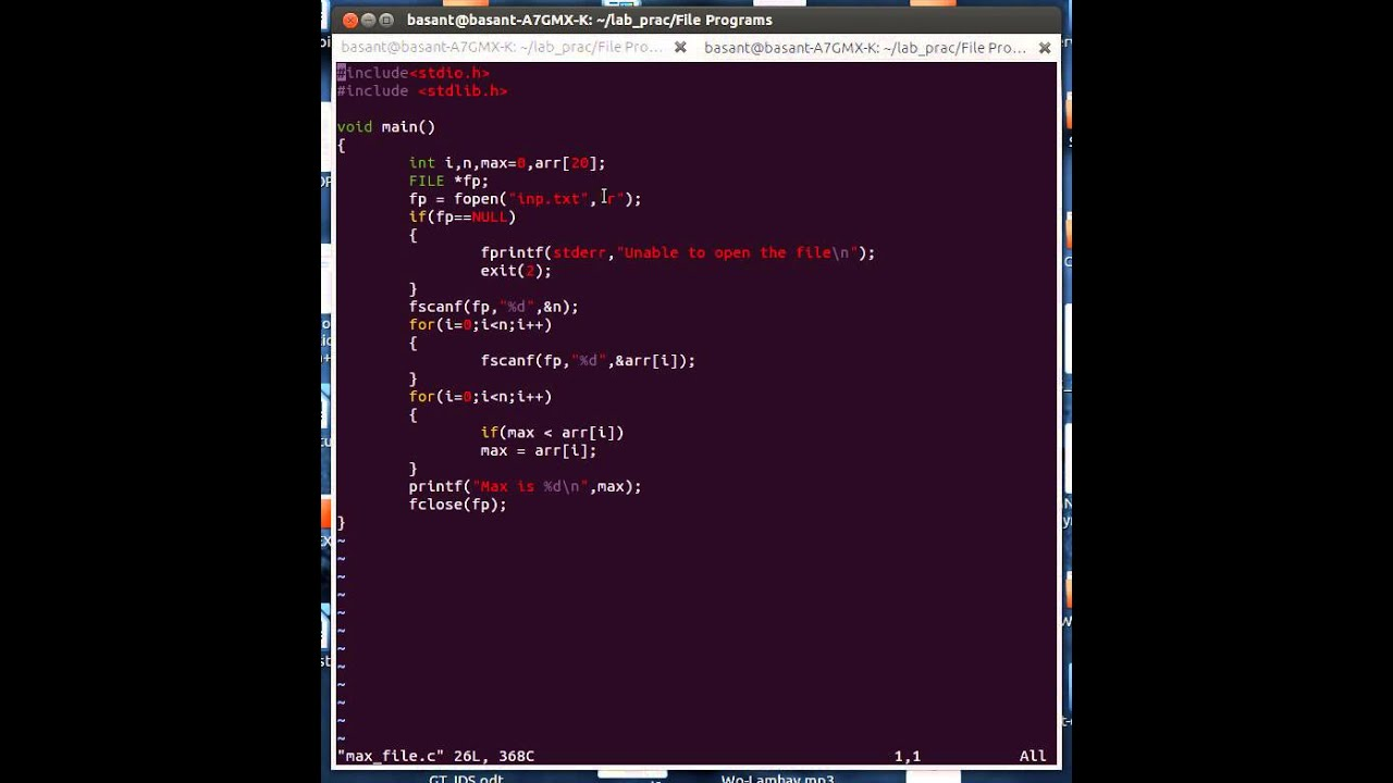 C Program To Find The Largest Number In A Given File