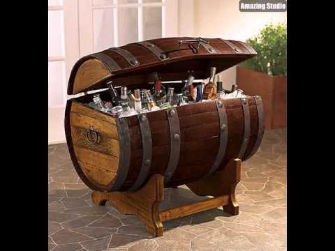 Diy wine barrel cooler projects youtube for Diy whiskey barrel bar