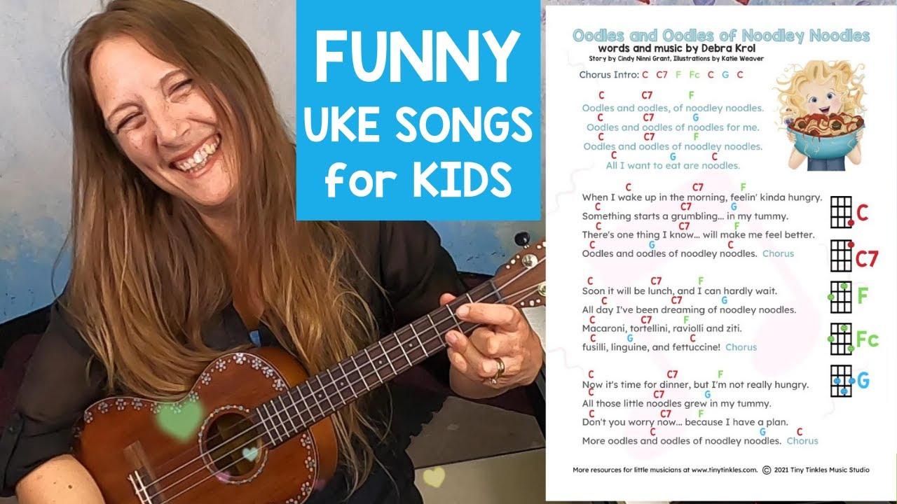 Oodles of Noodles Song kids UKULELE songs with Chord Chart // EASY KIDS Ukulele //Ukulele TEACHER
