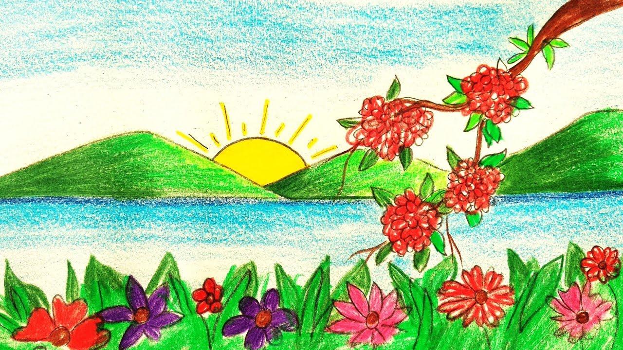 How To Draw Easy Scenery Flower Garden Scenery Drawing Spring Season Scenery Youtube
