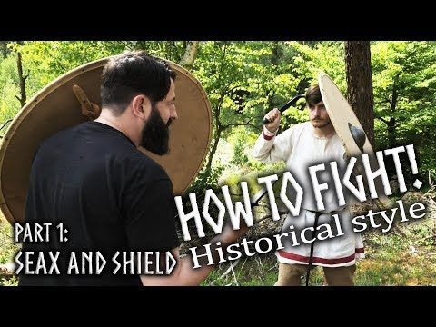 Fighting with Seax and Shield - Stabbing along the center line Episode 1
