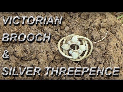 Victorian Brooch + Silver threepence