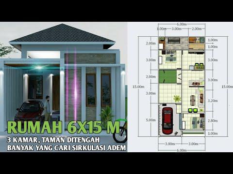 Desain Rumah Minimalis Rumah 6x15 1 Lantai Rumah 6x15 3 Kamar Tidur Youtube