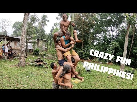 CRAZY FUN FILIPINO FIESTA BAMBOO POLE CLIMBING... (Foreigners Failed In The Philippines)
