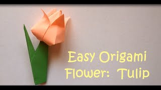 Origami Flower: Easy Tutorial for Beginners (Tulip) - Step by Step Easy Origami Instructions