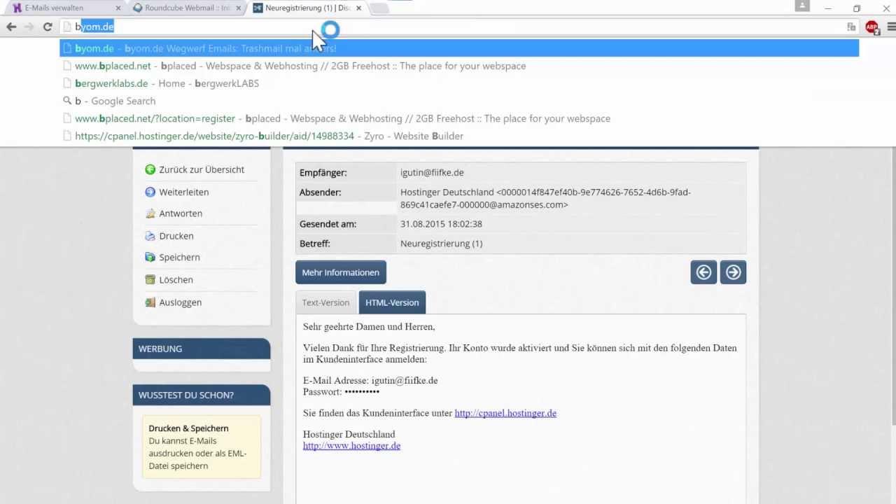 Eigene Domain eigene domain eigene e mail eigene youtubeurl superwebsite