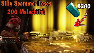 Silly Scammer Loses 200 Malachite! (Scammer Gets Scammed) Fortnite Save The World