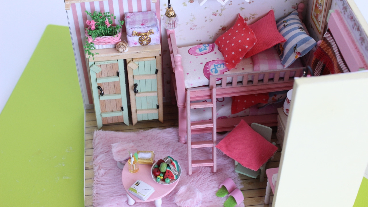 DIY Pink Miniature Dollhouse Girls Double Bed Cute Bedroom Start To Finish Part 2