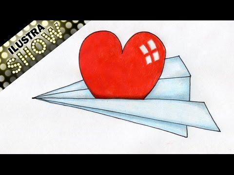 Como dibujar un corazon en un avion de papel corazones - Papel para dibujar ...