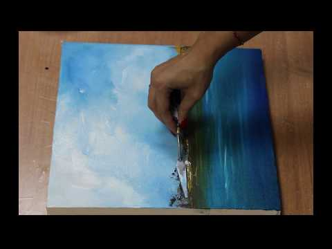 Easy Demonstration Abstract Painting on Canvas / Landscape / Acrylic brush & Palette knife.