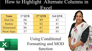 How to highlight alternate columns in excel using conditional formatting