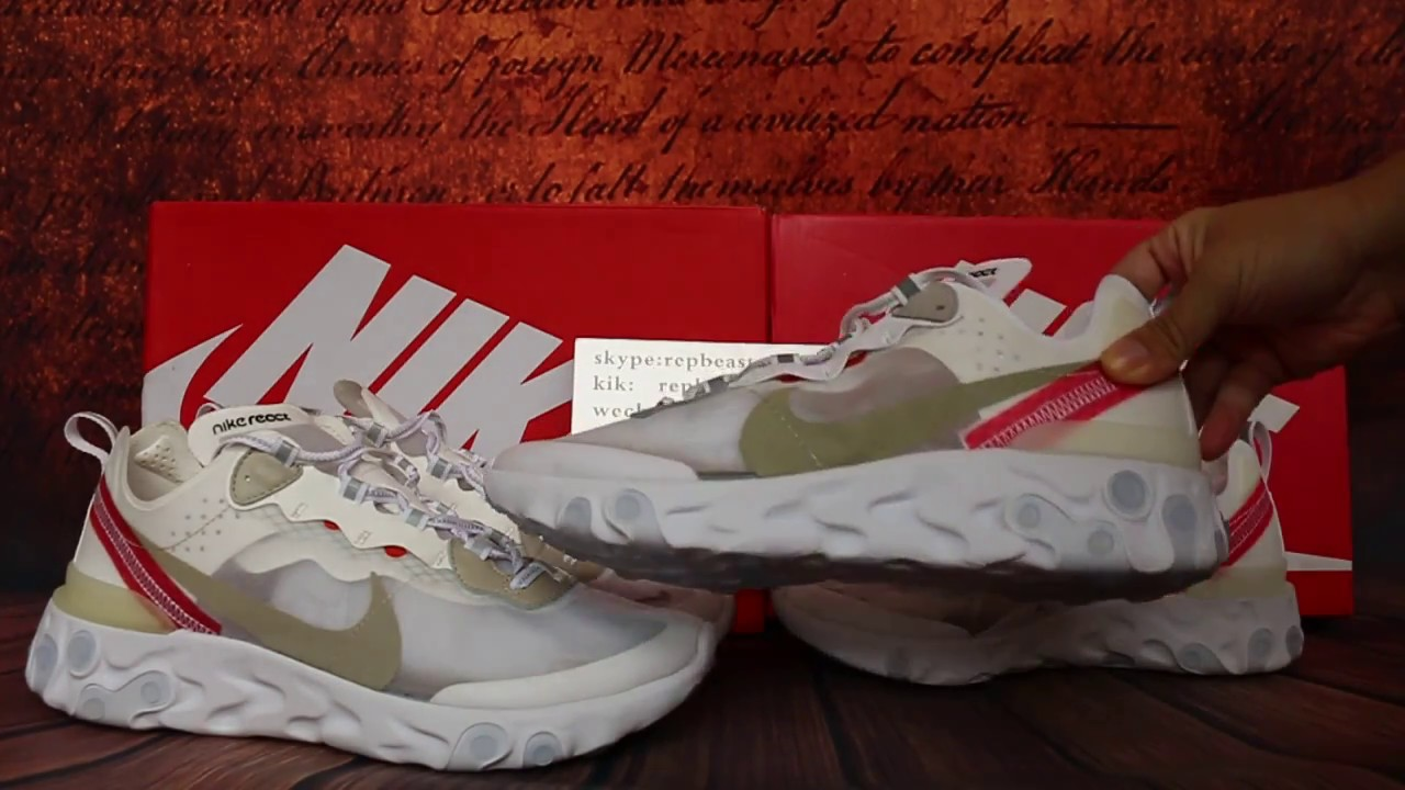 5163c15f Comparision for replica and retail UNDERCOVER X NIKE REACT ELEMENT 87 White