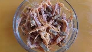Приготовление морковного салата с сухариками. Рецепт салата.