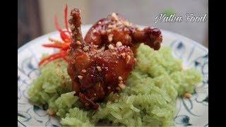 Cánh gà chiên nước mắm và xôi lá dứa ngon và đẹp    Natha Food