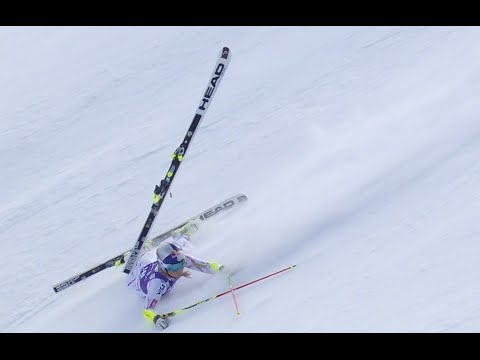Lindsey Vonn Loses a Ski - Giant Slalom Run 1 - 2015 Nature Valley Aspen Winternational