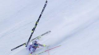 Lindsey Vonn Loses a Ski - Giant Slalom Run 1 - 2015 Nature Valley Aspen Winternational
