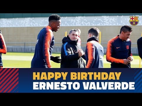 Ernesto Valverde is wished a happy birthday in training session