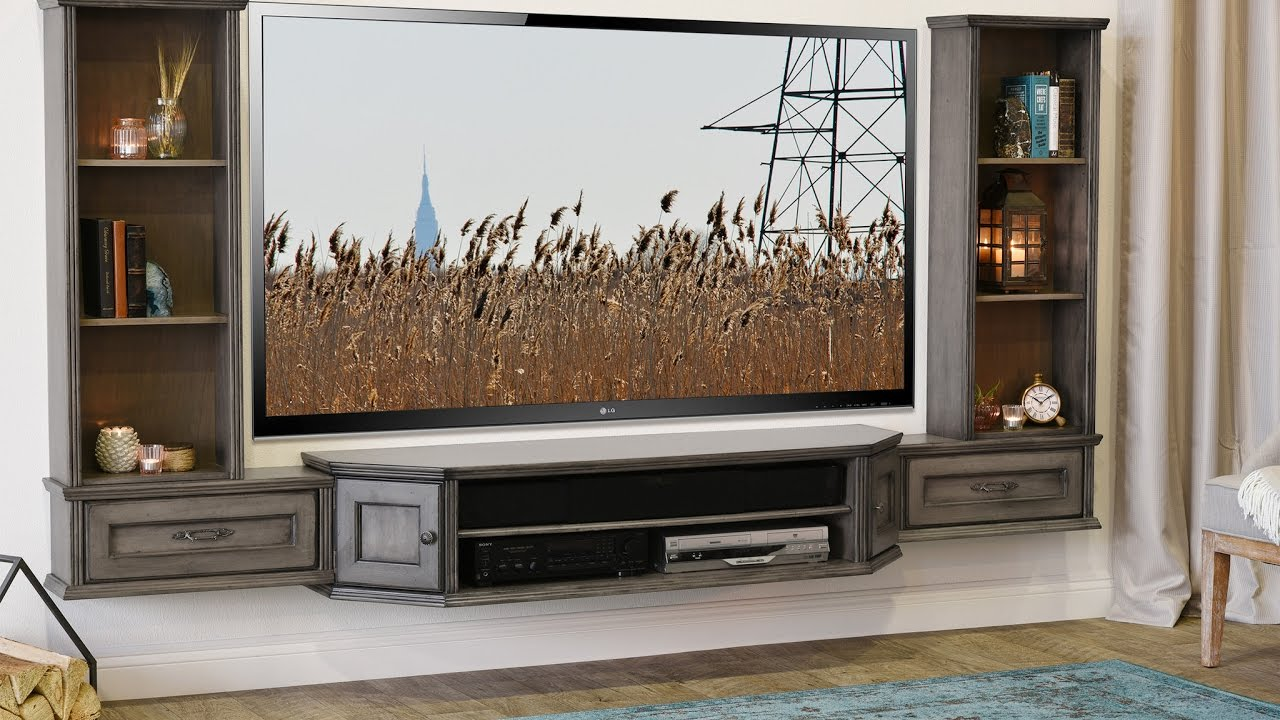 woodwaves floating tv stand wall mount entertainment center vintage gray youtube. Black Bedroom Furniture Sets. Home Design Ideas