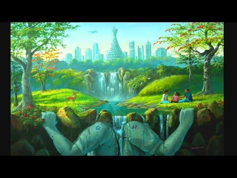 Surreal Painting With Futuristic Concept | Acrylic Landscape Painting In Time Lapse