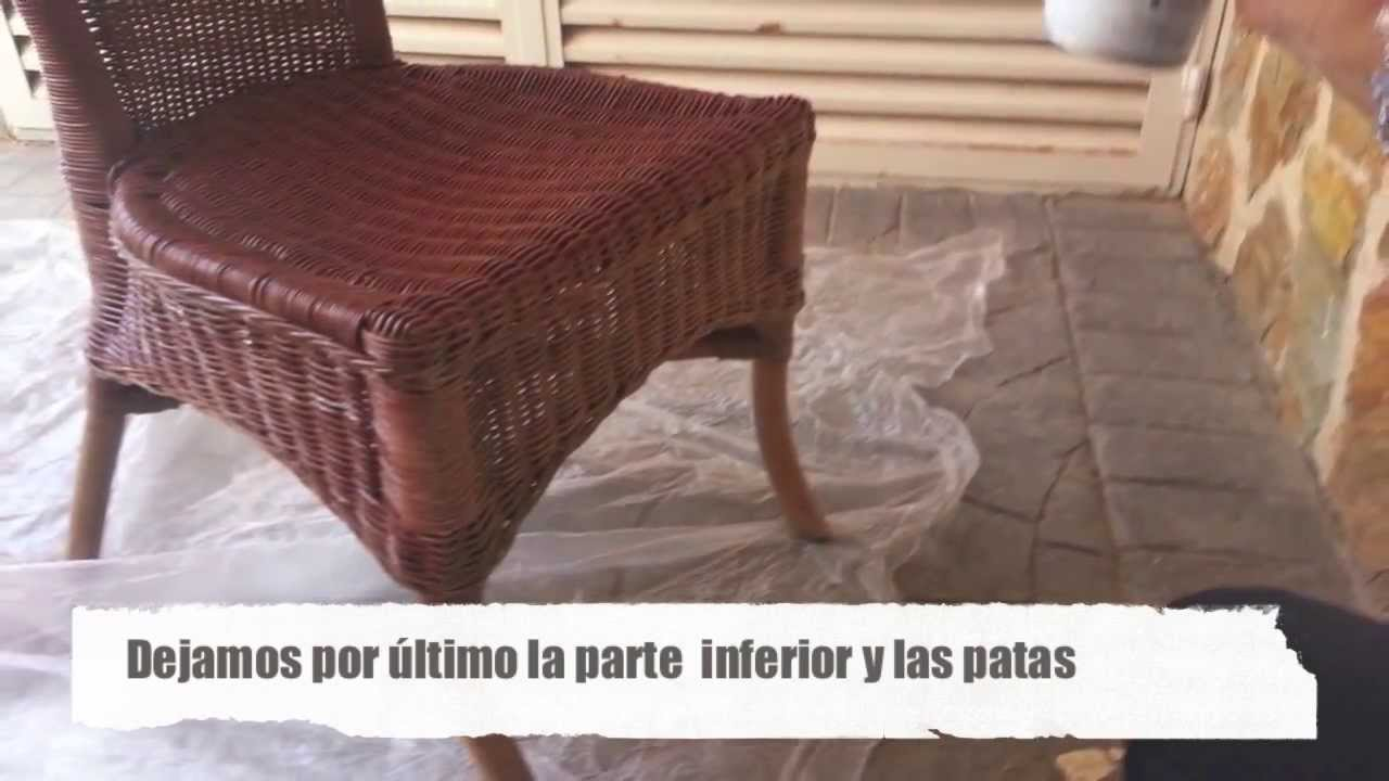 Como pintar sillas de mimbre youtube for Sillones de rattan