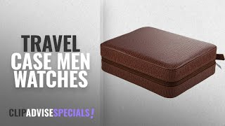 10 Best Selling Travel Case Men Watches [2018 ]: 4 Watch Travel Case Brown Leather Arctic Shark