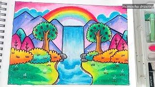 Download lagu Pemandangan air terjun - Cara menggambar dan mewarnai gradasi oil pastel