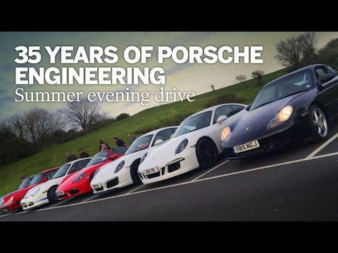 35 years of Porsche engineering: summer evening drive with seven Porsches