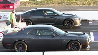 Wife vs husband - drag racing,Hellcat Charger vs Hellcat Challenger