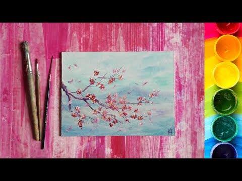 Рисуем Веточку сакуры гуашью