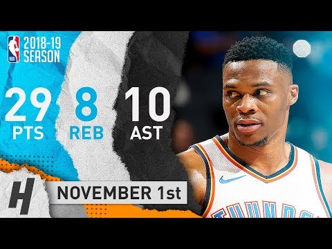 Russell Westbrook CLUTCH Highlights Thunder vs Hornets 2018.11.01 - 29 Pts, 10 Ast, 8 Reb, SICK!