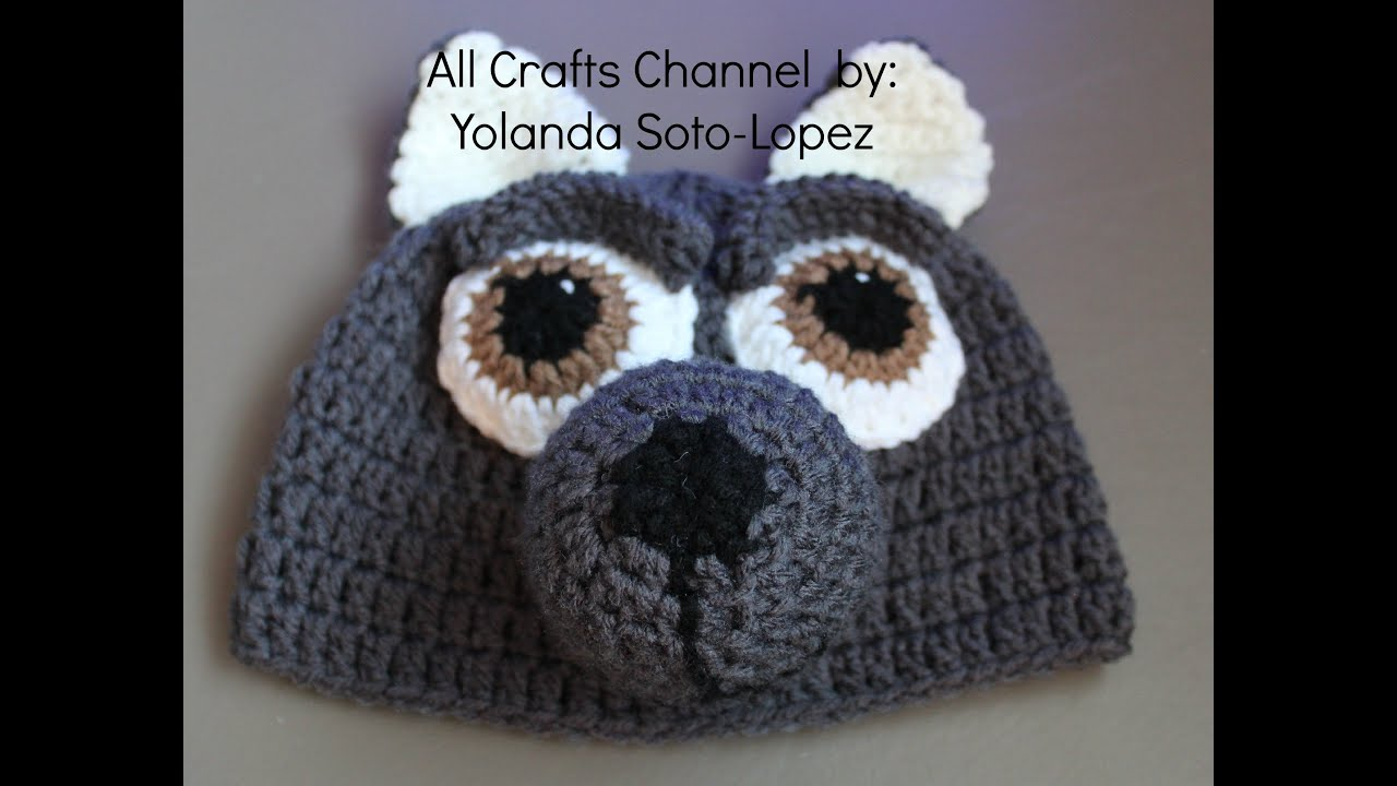How to Crochet wolf beanie - video two - YouTube