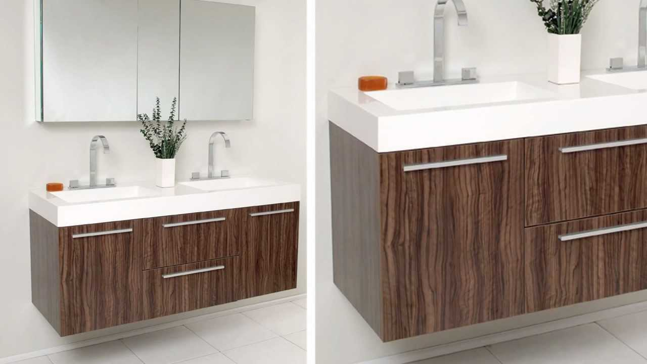 Fresca opulento walnut modern double sink bathroom vanity for Bathroom bathroom bathroom