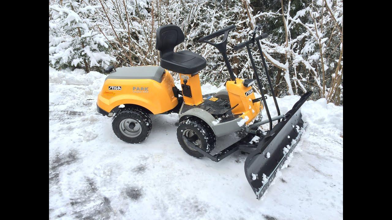 stiga park compact 4wd mit schneeschild 30jan15 youtube