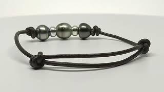 Bracelet cuir noir 3 perles vidéo