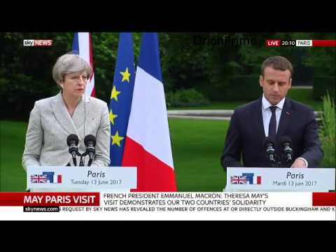 Theresa May & Emmanuel Macron Joint Press Conference in Paris w/Q&A. 13th June 2017