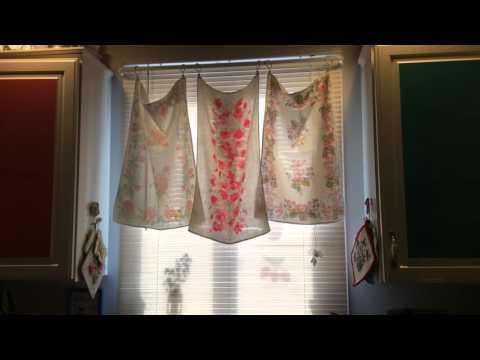 Pinterest Idea: Vintage Tea Towel Curtains For My Kitchen