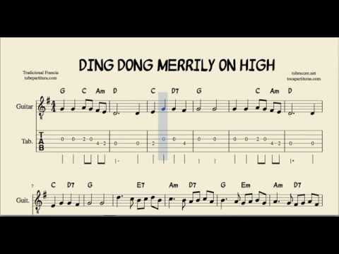 Ding Dong Merrily on High Tabs Sheet Music for Guitar with Chords ...